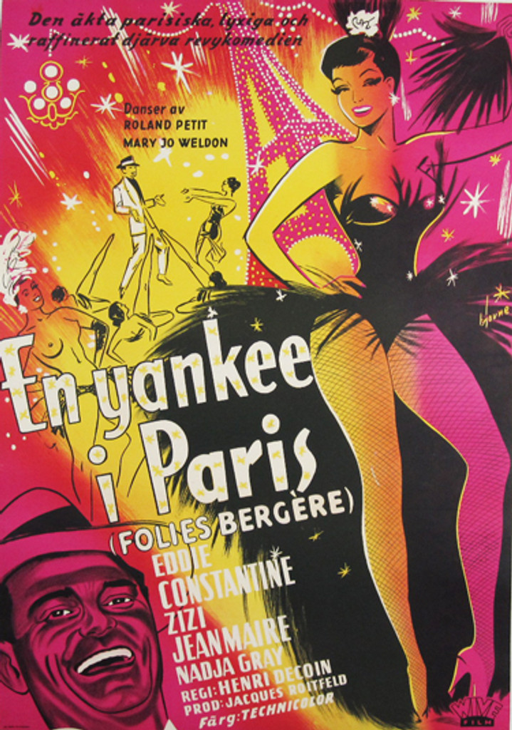 En yankee i Paris (Folies Bergere) original movie poster from 1956 Sweden