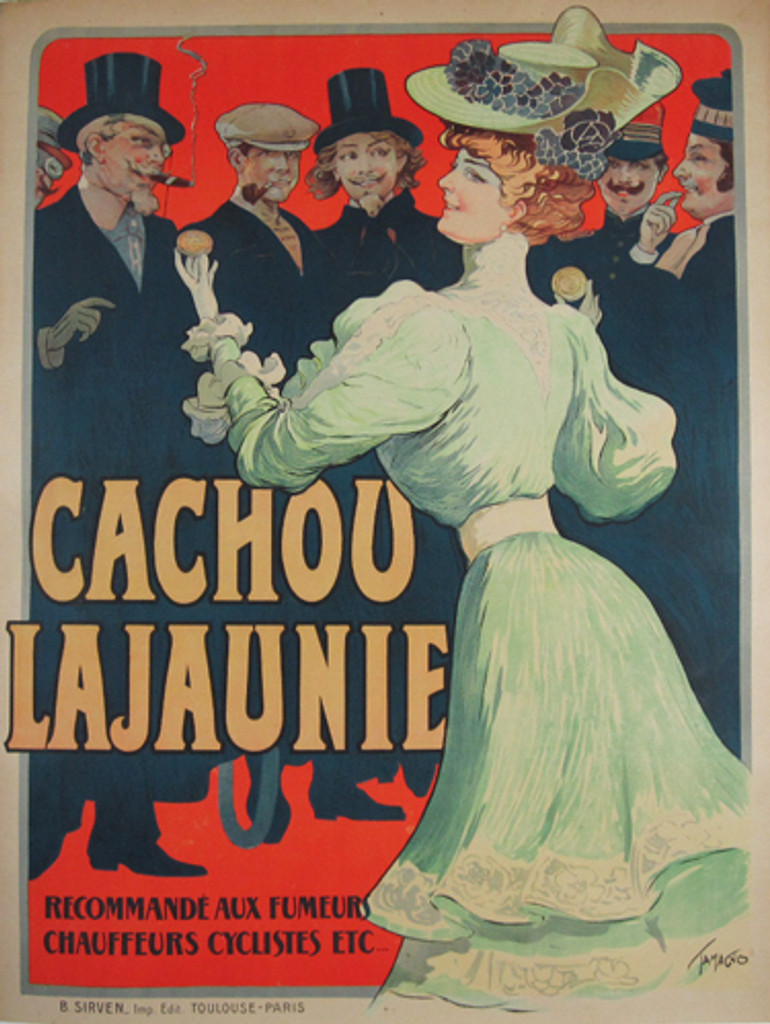 Cachou Lajaunie poster by famous artist Tamagno from 1903 France - Original Vintage Posters. French advertisement for breath mints features a woman in a green dress holding in her hands licorice candy and she is surrounded by men.