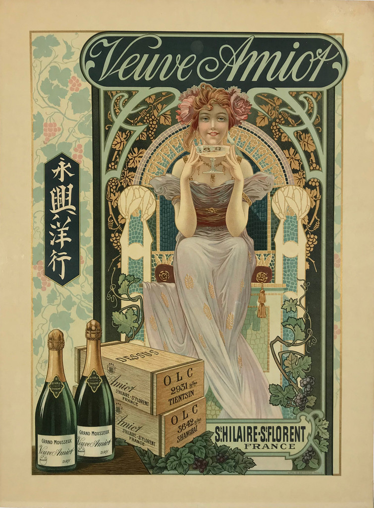 Veuve Amiot Champagne by G. Bataille original antique poster from 1902 France.