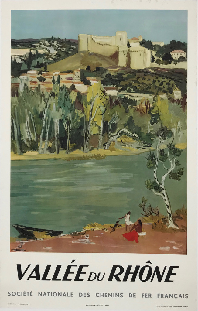 Original French 1951 Vallee Du Rhone SNCF Plate Lithograph Advertisement Travel Poster by Yves Brayer Linen Backed