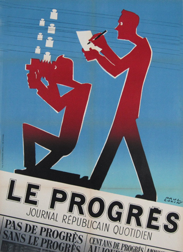 Le Progres Journal by Paul Colin Original Vintage Poster from 1954 France