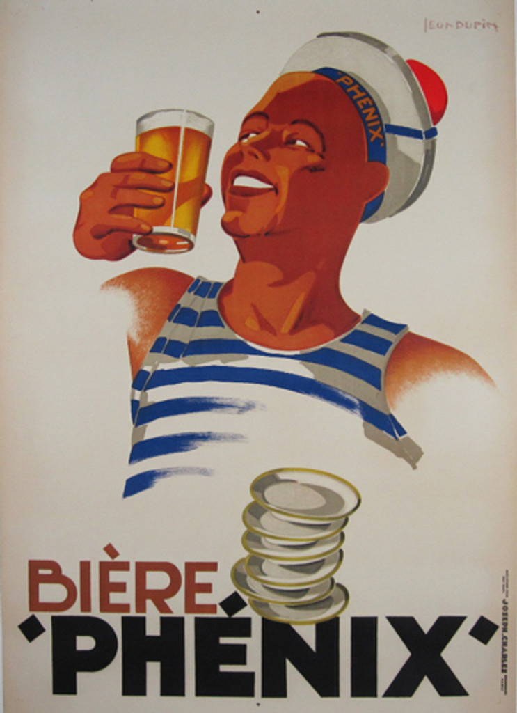 Biere Phenix by Leon Dupin 1930 France - Beautiful Vintage Poster. French wine & spirit poster features a sailor in a blue and white striped tank top holding up a beer. Original Antique Posters