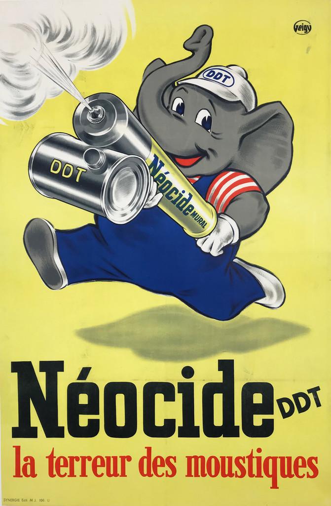 1950 French Neocide DDT La Terreur des Moustiques Poster