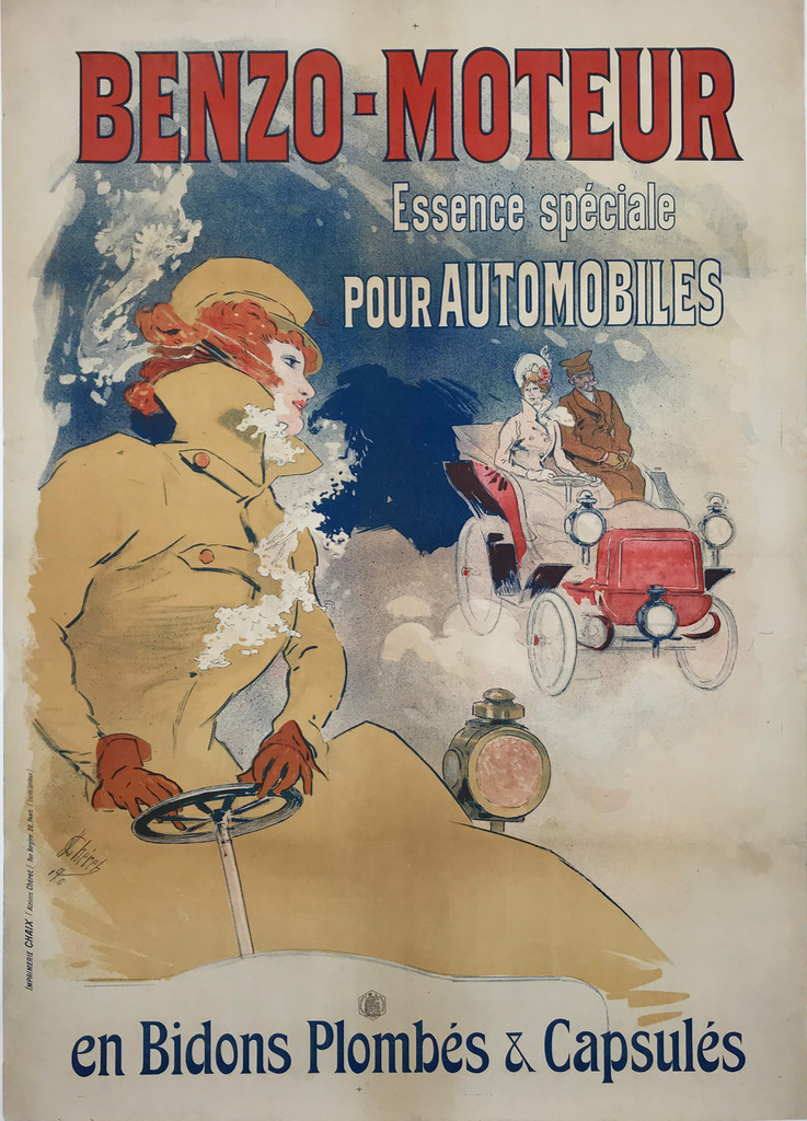 Benzo Moteur Original 1900 French Antique Stone Lithograph Advertsiement by Jules Cheret Linen Backed  - Authentic Vintage Posters Original Lithograph. This antique poster shows people driving cars in cloud on a blue background.
