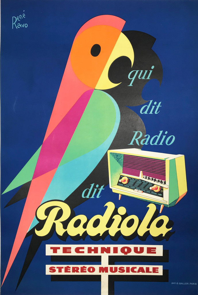 Original 1952 French Radiola qui dit Radio Plate Lithograph Advertisement Poster by Rene Ravo Linen Backed