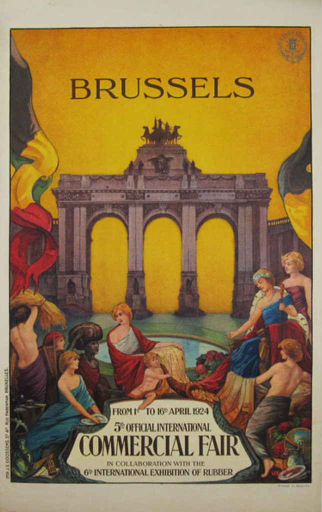 Brussels Commercial Fair original vintage poster by Willy Tbiran from 1924 Belgium