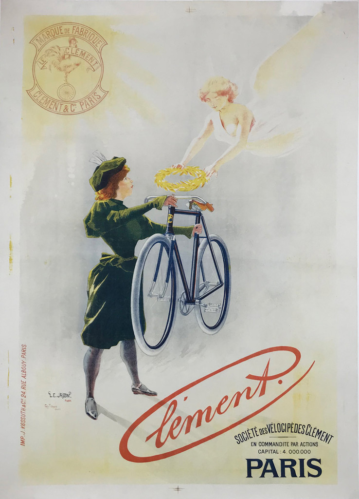 Cycles Clement bicycle original antique poster by Tichon from 1896 France. French poster features a women in green holding up a bike to an angel who is placing a wreath crown on the bicycle. Authentic Vintage Posters Originals