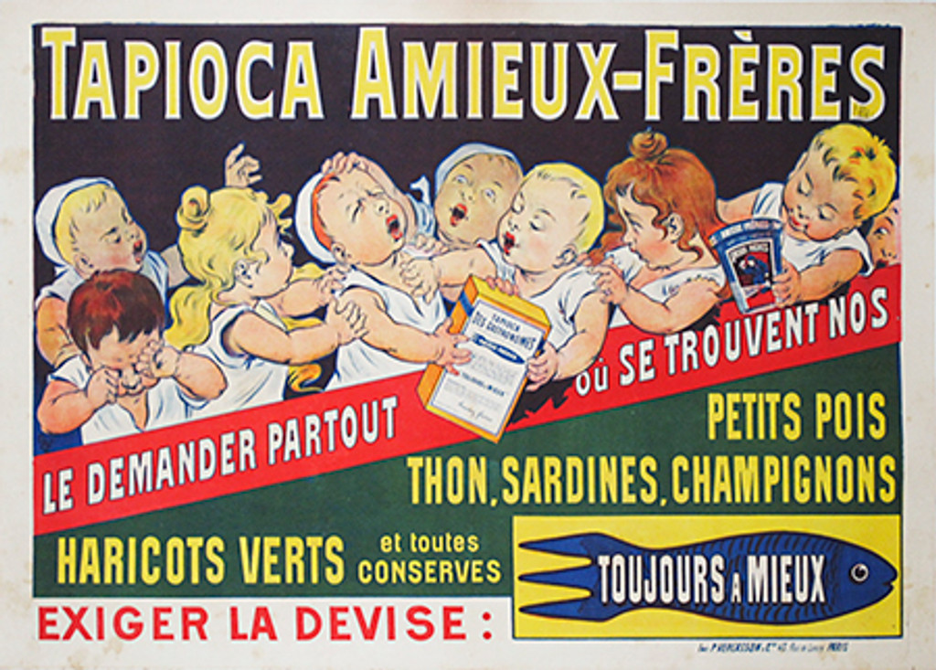 This horizontal French poster features boys and girls fighting over a box of tapioca. Authentic Vintage Poster Original