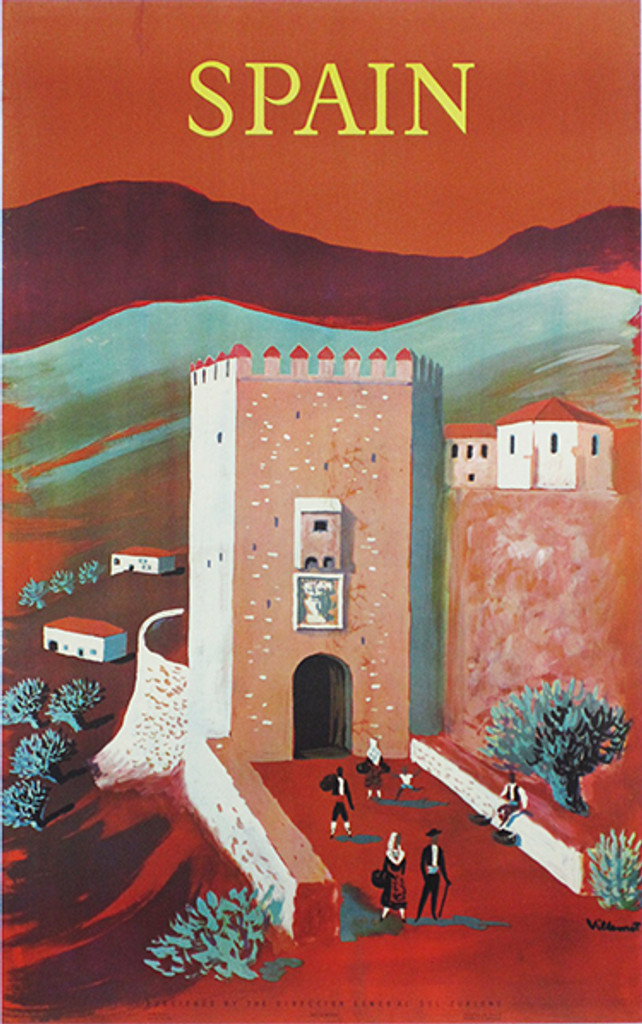 Spain original vintage travel poster by B. Villemot from 1958. Spanish poster features a sunset mountain landscape with a tower entrance with women, men and a child walking in front.