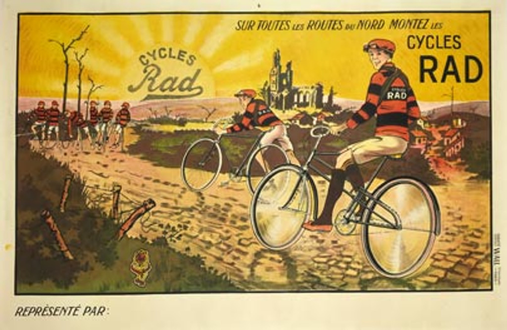 Cycles French poster features a team of cyclists on bikes on a dirt road with the sun rising on the horizon. Authentic vintage bicycles posters only originals.