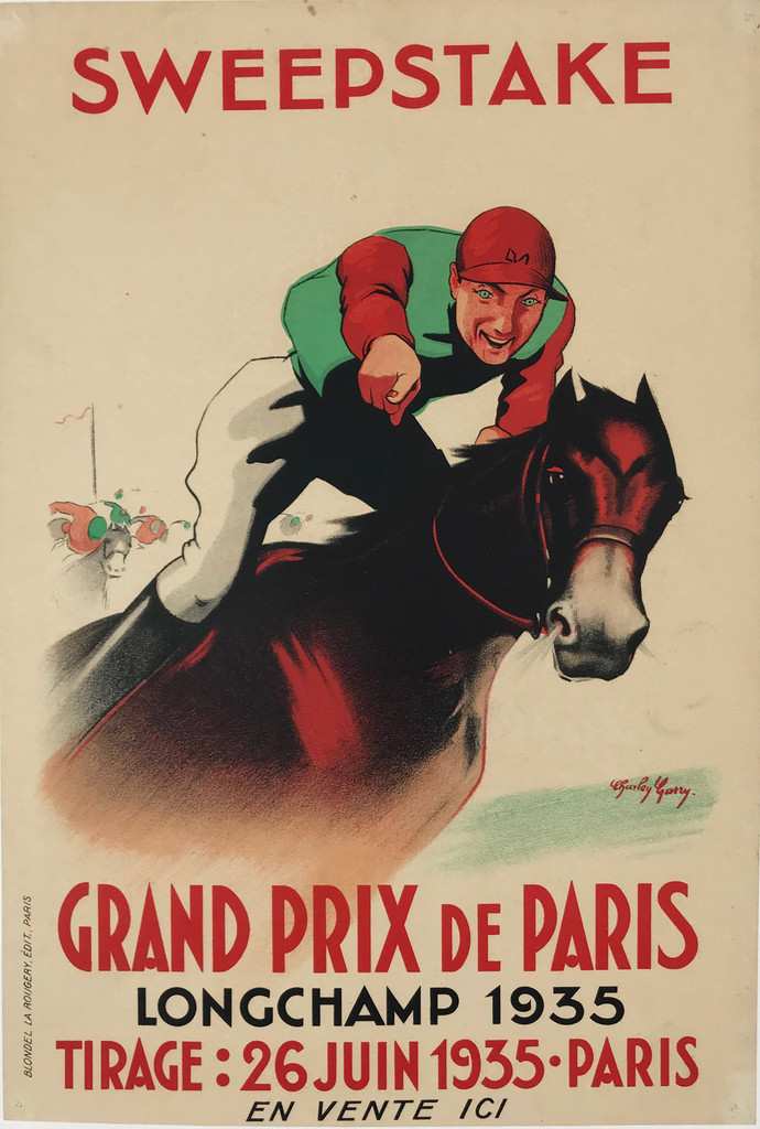 Original 1935 French Sweepstake Grand Prix De Paris Stone Lithograph Advertisement Poster by C. Garry Linen Backed