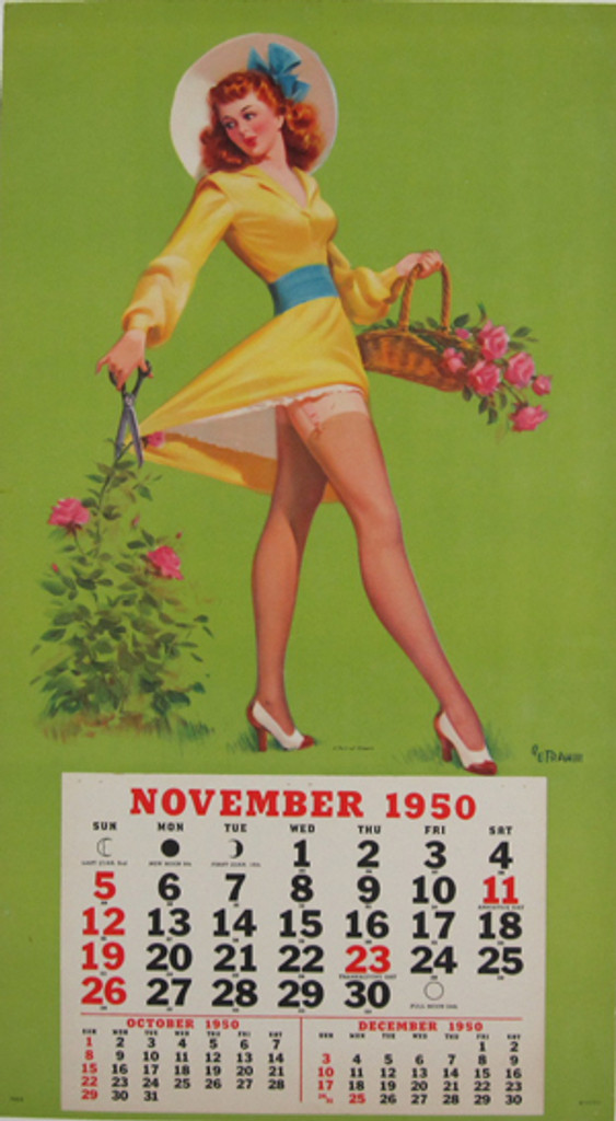 A Pair of Sheers - Calendar by Art Frahill original vintage poster from 1950 USA