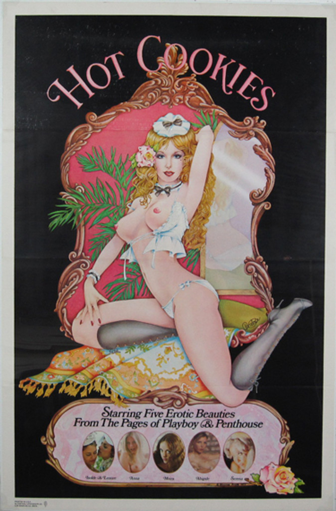 Hot Cookies original movie poster from 1977 USA. Features naked blonde woman sitting on a rug behind her is a mirror. Black background.