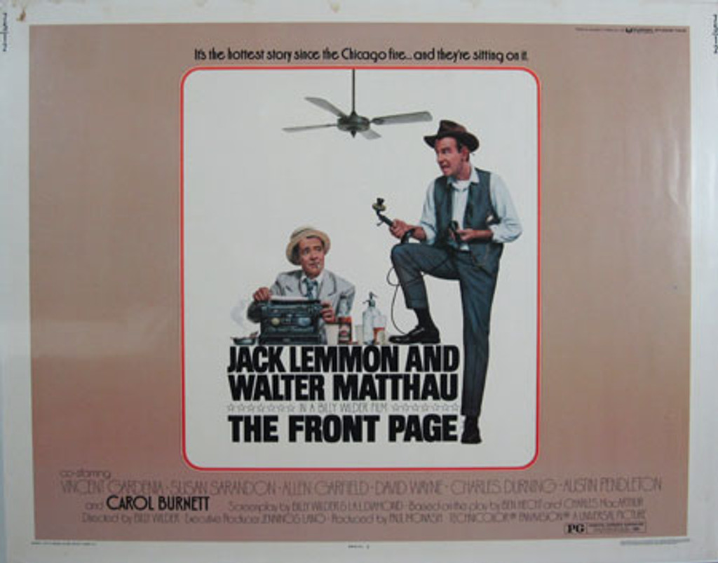 The Front Page original movie poster from 1975 USA