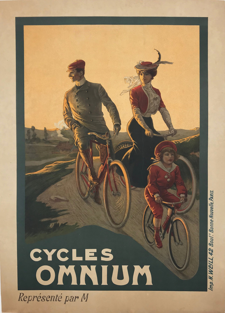 1896 Antique French Cycles Omnium Poster by Imp. N. Weill