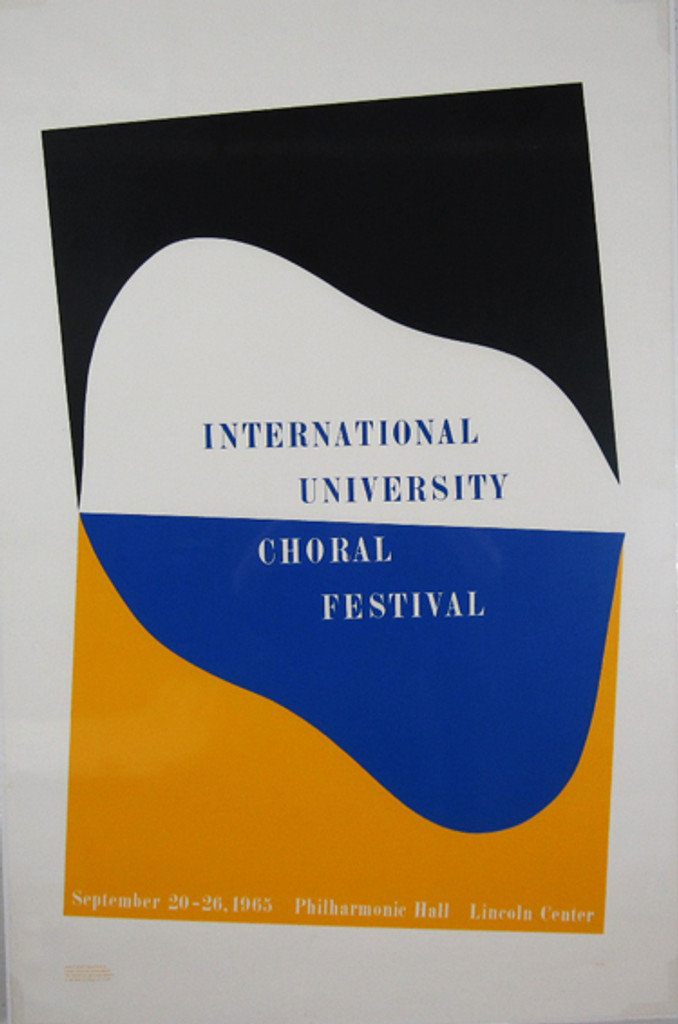 International University Choral Festival original vintage poster by Charles Hinman from 1965 USA