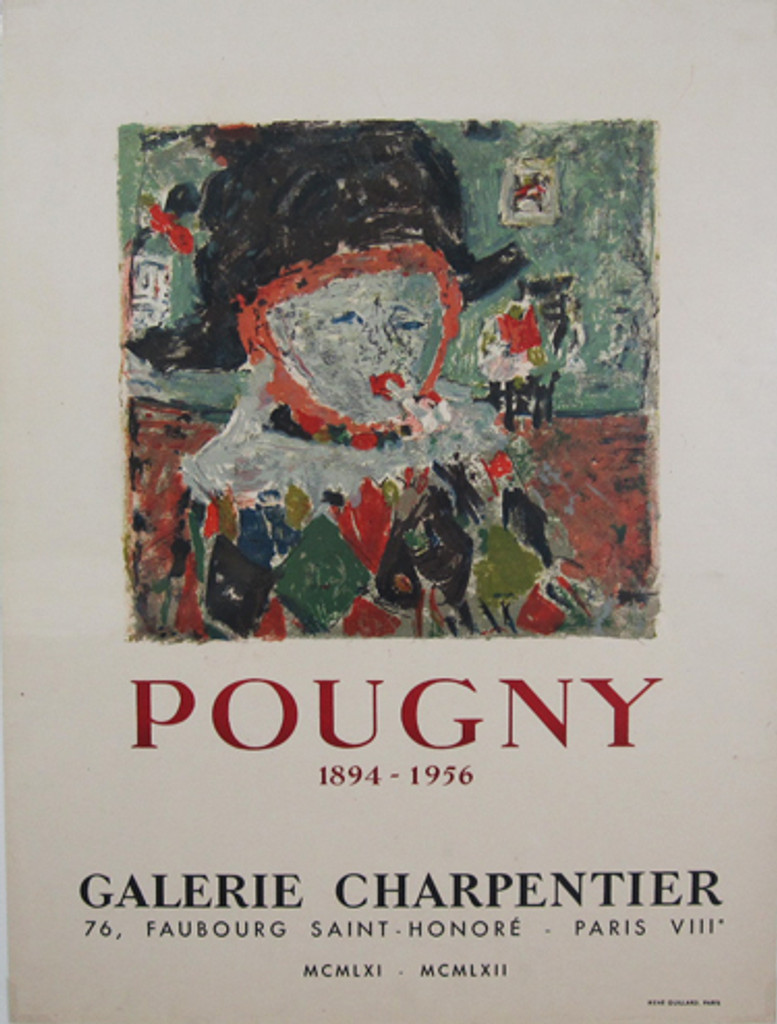 Pougny Galerie Charpentier original  poster by Mourlot from 1956 France. Gallery exhibition advertisement.