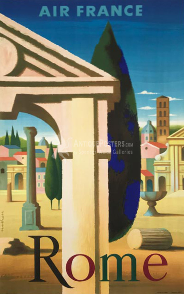 Air France Rome original vintage travel poster from 1957 by Nathan. French plate lithography