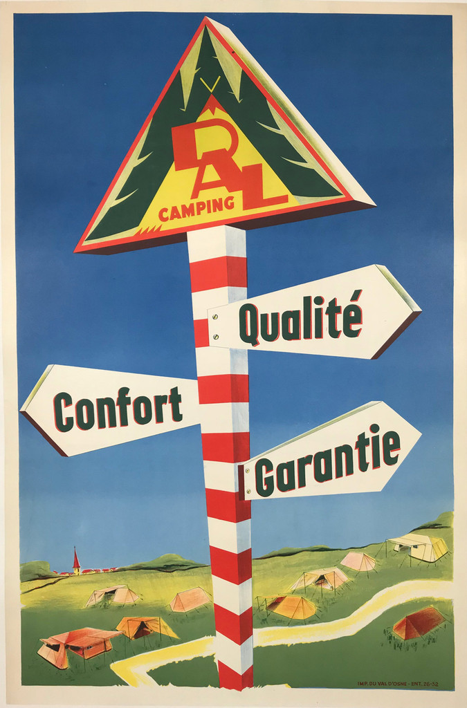 Vintage French 1940 DAL Camping Resort Poster