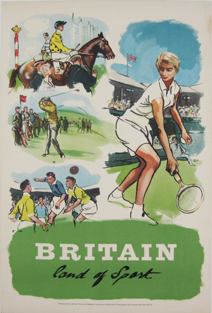 Britain Land of Sports 1955 tourism poster