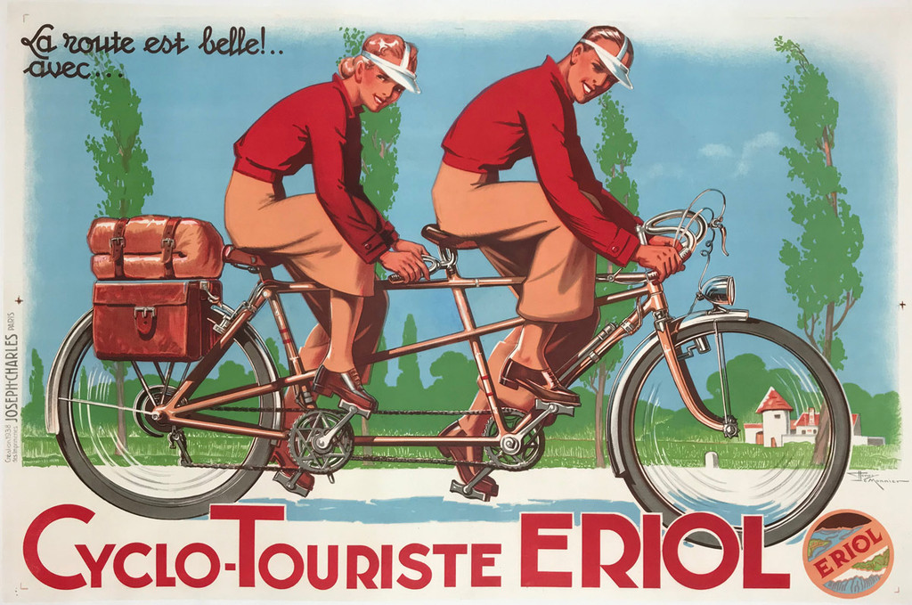 Cyclo-Touriste Eriol French original bicycles cycles poster from 1938 by H. Le Monnier.