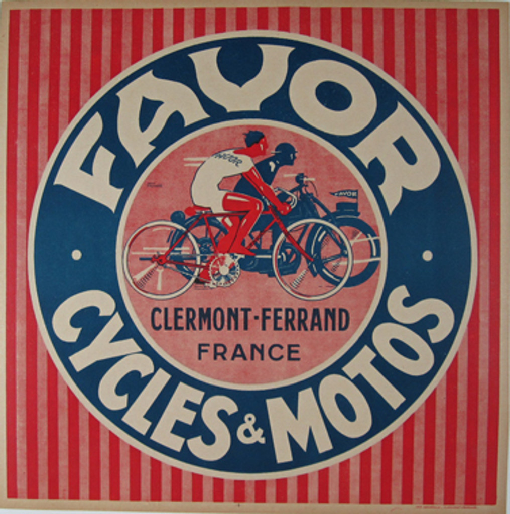 Favor Cycles and Motos original vintage poster by Jean Pruniere from 1940 France. This original antique poster features a colorful advertising image for of racers racing together on both machines, in red, white and blue litho design.