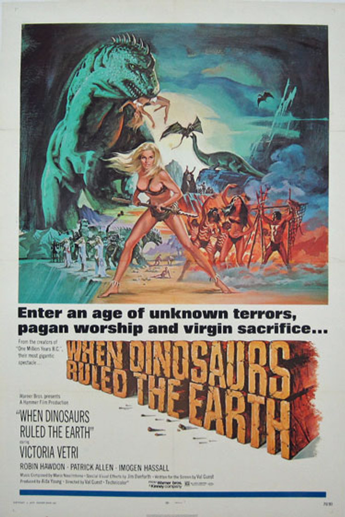 When Dinosaurs Ruled the Earth original movie poster from 1970 USA