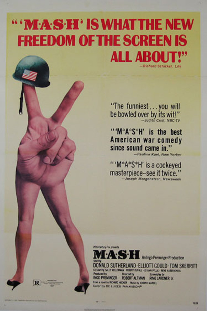 MASH original American movie poster from 1970 with Donald Sutherland, Elliott Gould and Tom Skerritt.