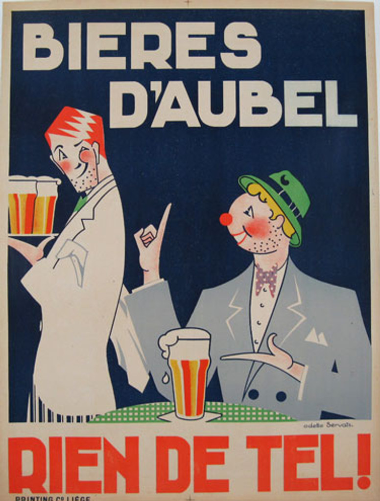 Bieres D Aubel original vintage Belgium beer poster by Odette Servais from 1938. Features two caricature man and a waiter and pint of beer.