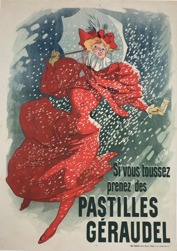 Original Antique French 1895 Pastilles Geraudel Cheret Stone Lithograph Advertisement Poster by Jules Cheret Linen Backed Well