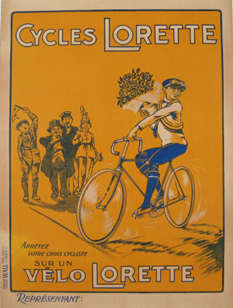 Cycles Lorette original vintage bicycles poster from 1930 France. French transportation poster features a cyclist holding a big bouquet of flowers riding by a crowd of cheering children.