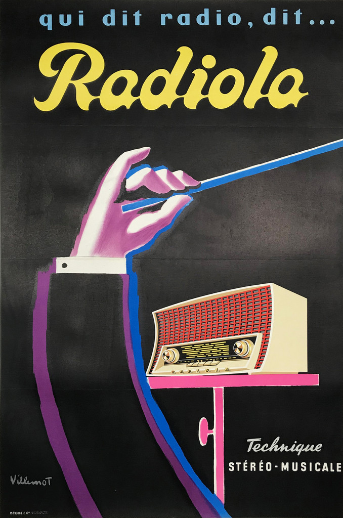 Radiola Original Vintage 1959 French Lithograph Advertisement Poster by Bernard Villemot.  Shows a conductors arm with baton held up in front of a radio on a black background.