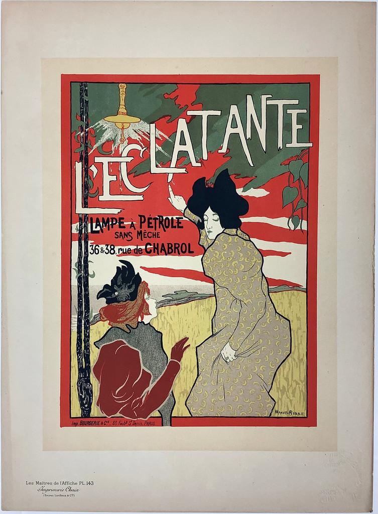 L'Eclatante Lampe A Patrole Original Les Maitres De L'Affiche Plate 143 by Manuel Robbe from 1898 France. Original Vintage Poster
