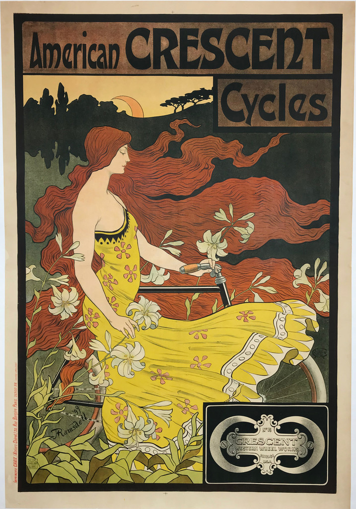 American Crescent Cycles original advertising lithograph vintage poster by Ramsdell from 1899 France. Shows a red headed woman in a yellow dress blowing in the wind in a field of flowers next to a bike.