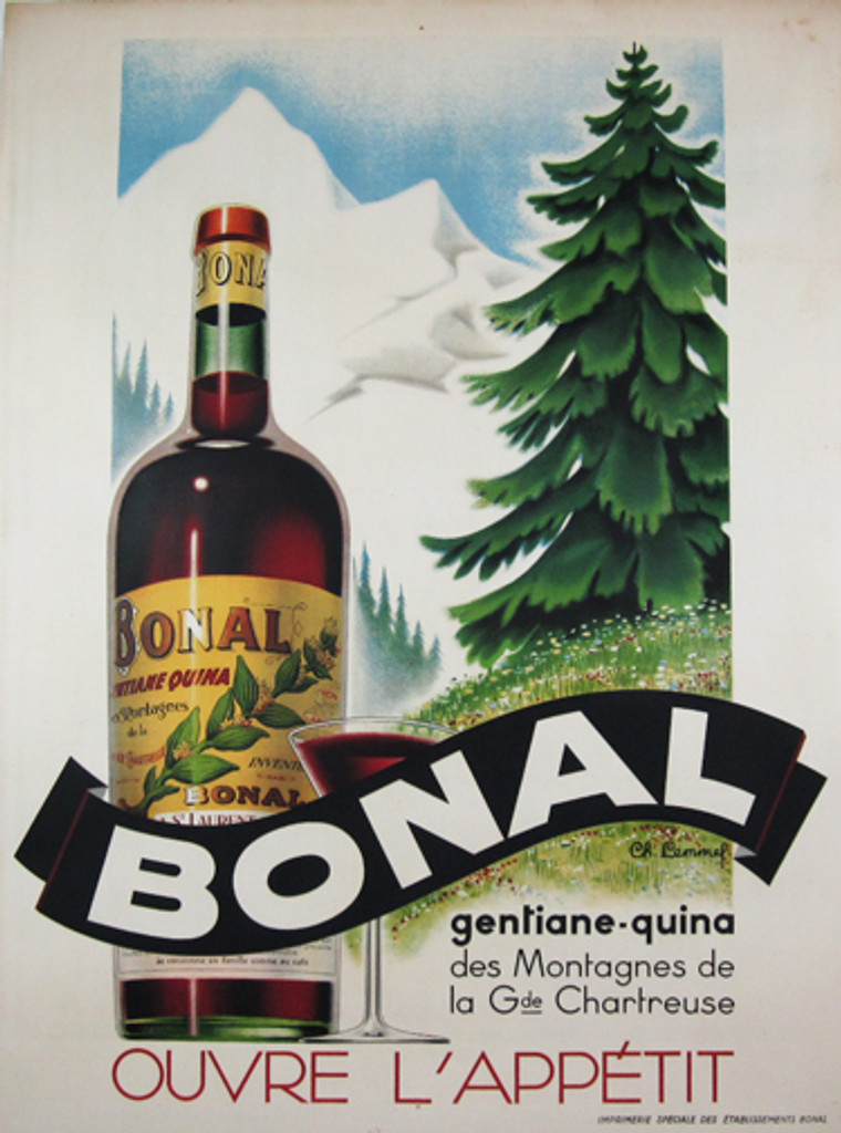 Bonal Gentiane Quina original poster by Ch. Lemmel 1928 France - Features a large bottle and glass in front of a landscape of snow covered mountains and a green tree and grass and flower covered hill. Original Antique Posters.