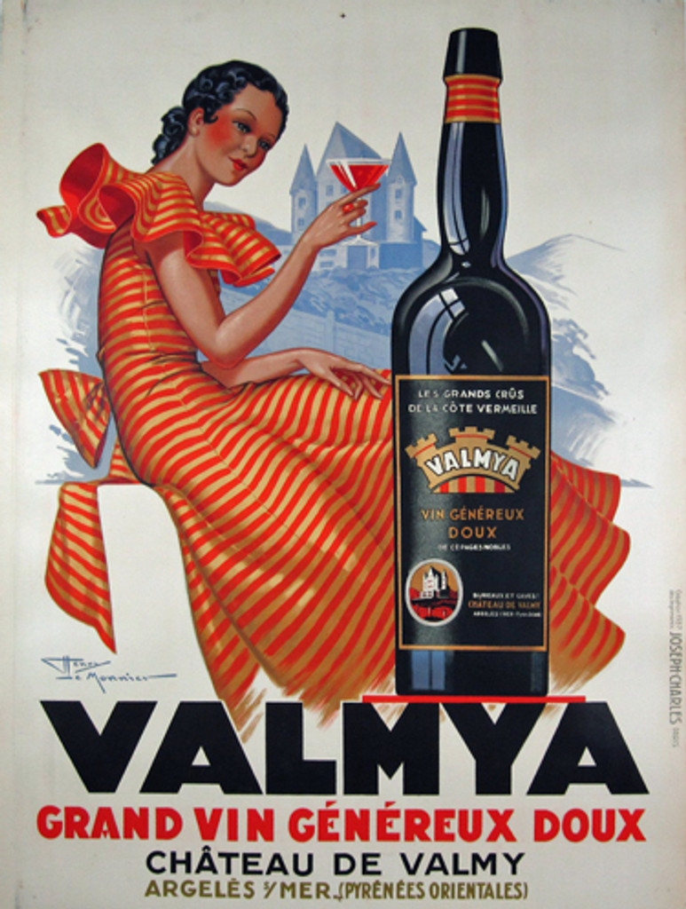 Valmya by Henry Le Monnier 1937 - French poster features a women in a red and gold striped dress holding up a martini glass with a chateau behind her and a large black bottle in front. Original Antique Posters.