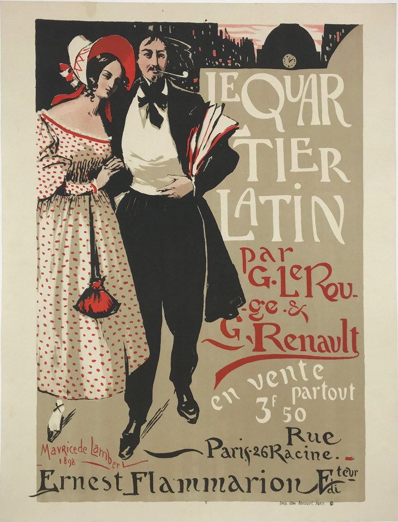 Le Quartier Latin 1898 Poster by Maurice De Lambert