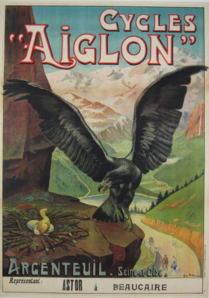 Cycles Aiglon original vintage poster by Georges Vallee from 1901 France