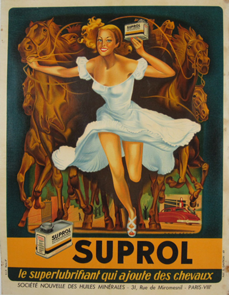 Suprol oil by Rene Peron Original Vintage Poster from 1949 France