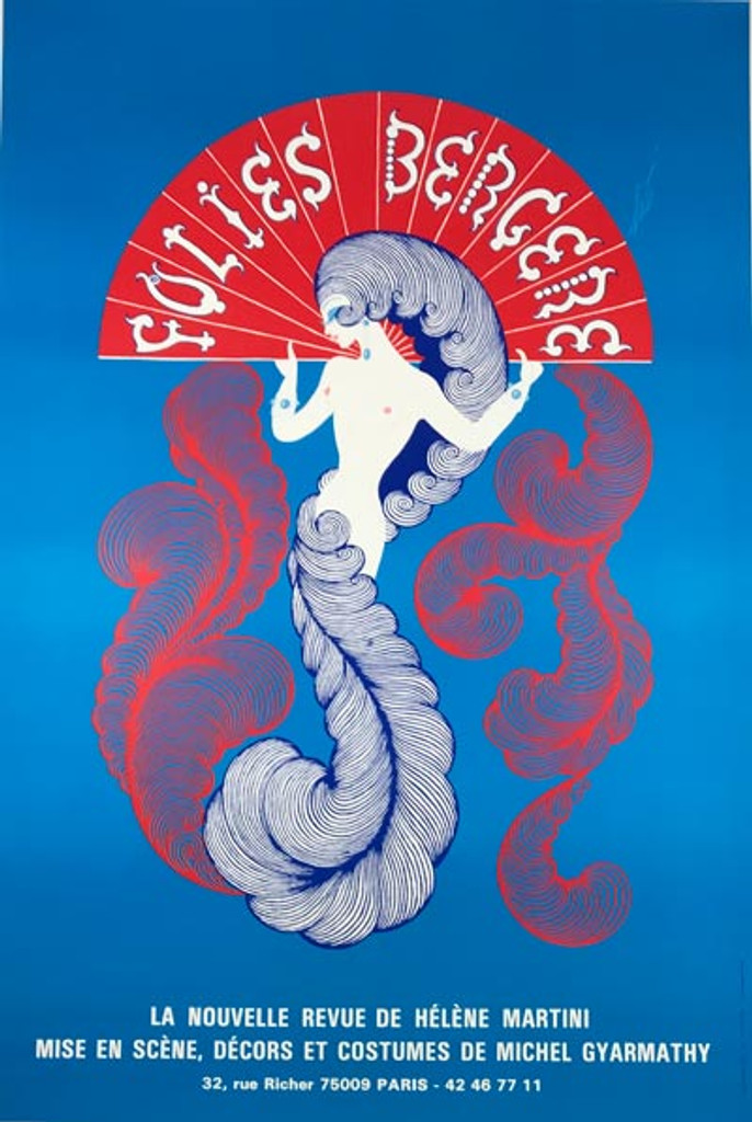 Folies Bergere original advertising lithography antique poster by Erte from 1974 France. Shows a woman holding a red hand fan with white lettering Folies Bergere on blue background.