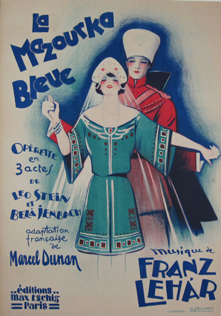 La Mazourka Bleue original vintage poster by Dola from 1929 France