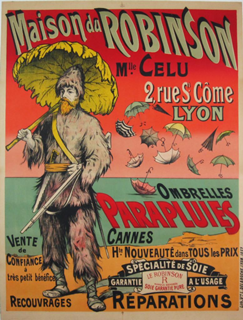 Maison du Robinson Parapluies Ombrelles by Delaroche original vintage poster from 1907 France