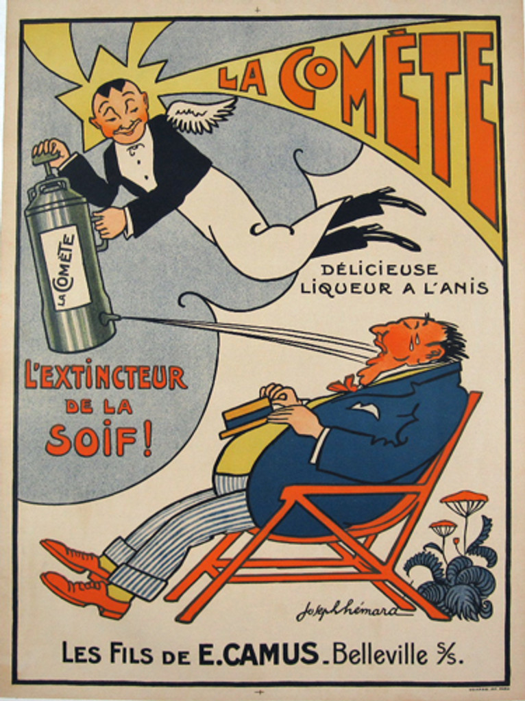 La Comete by Joseph Hemard 1928 - French poster features  a winged bartender flying over a seated man squirting liquor into his mouth extinguishing thirst. Original Antique Posters.