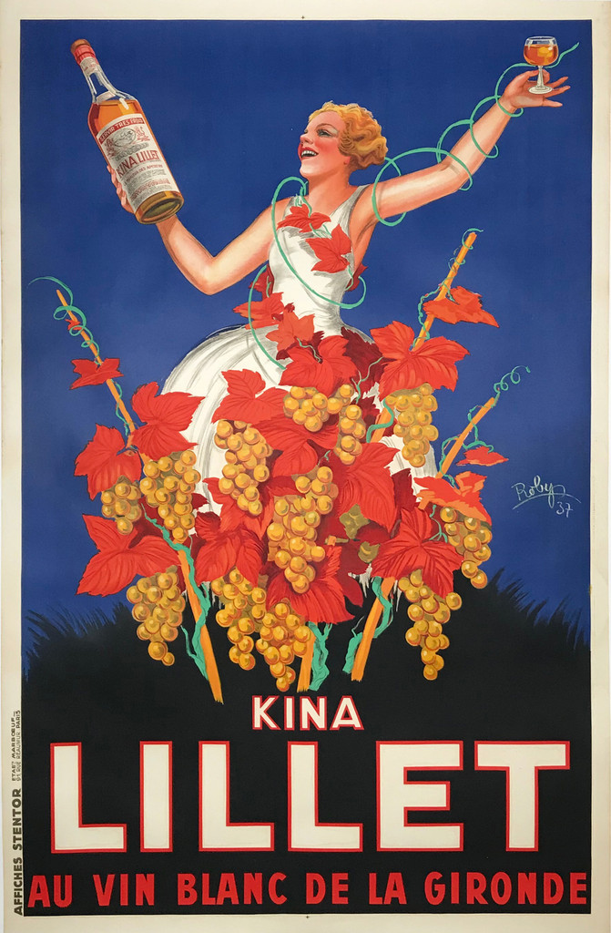 Kina Lillet original vintage poster by Robys from 1937 - French wine and spirits poster features a women in white dress holding up a bottle and glass, she is standing on yellow grapes and leafs.