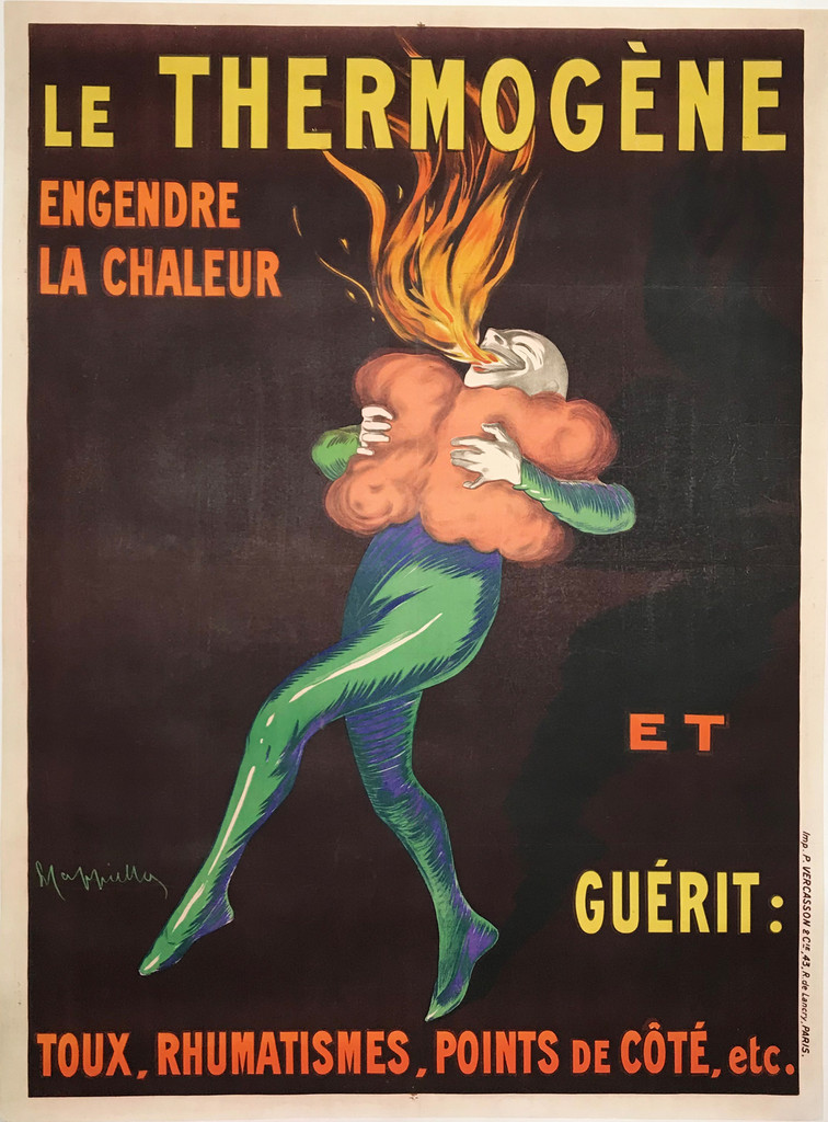 Le Thermogene Original Vintage French Poster by L. Cappiello from 1909 France. Medical advertisement features a man clutching pillows to his chest and breathing fire.