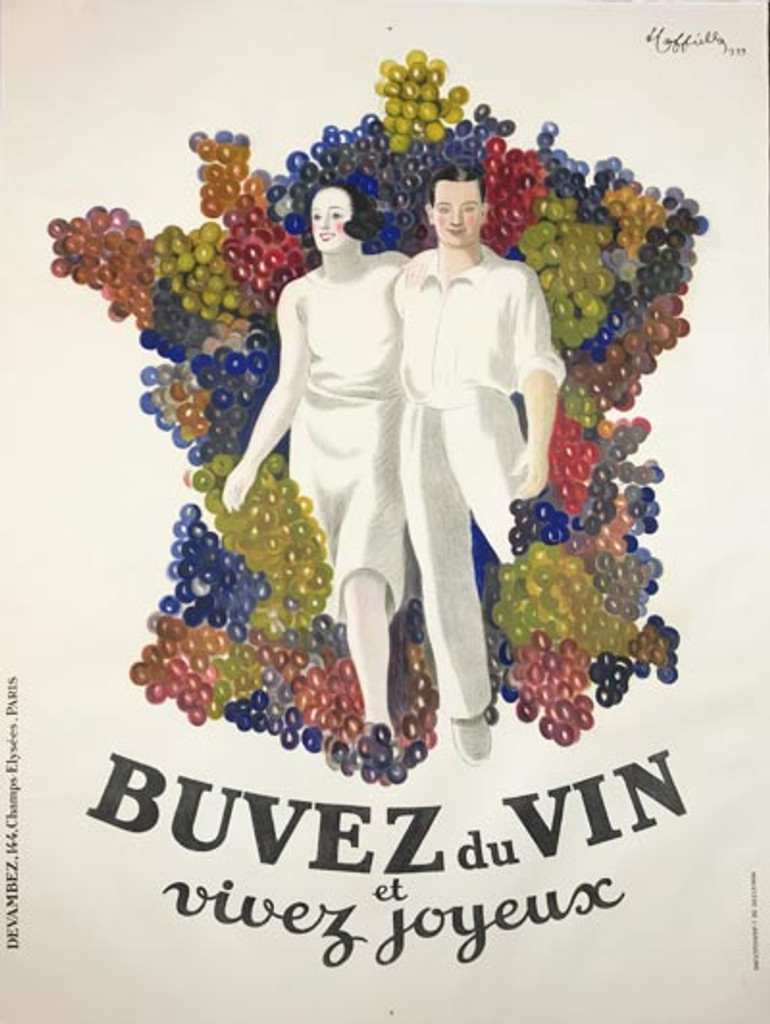 Buvez Du Vin by Leonetto Cappiello Original 1933 French Vintage Wine Poster Linen Backed. Couple on a white background walking through grapes.