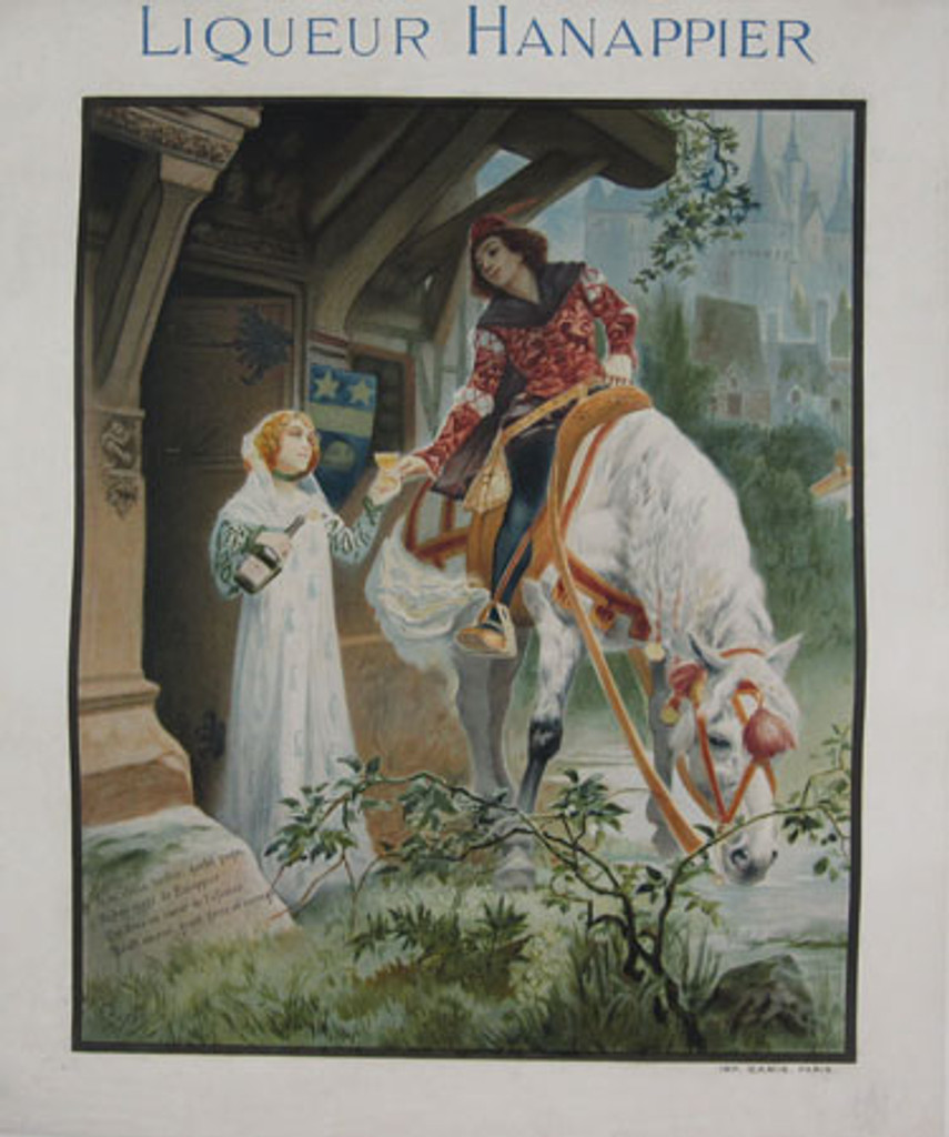 Liqueur Hanappier by Guydo 1904 - French poster features a fairy tale scene of a man on a white horse accepting a glass from a woman in a doorway. Original Antique Posters.