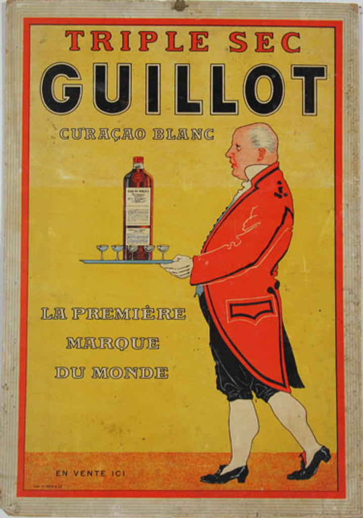 Triple Sec Guillot Curacao Blanc (carton) by Imp. F. Pech original vintage poster from 1900 France