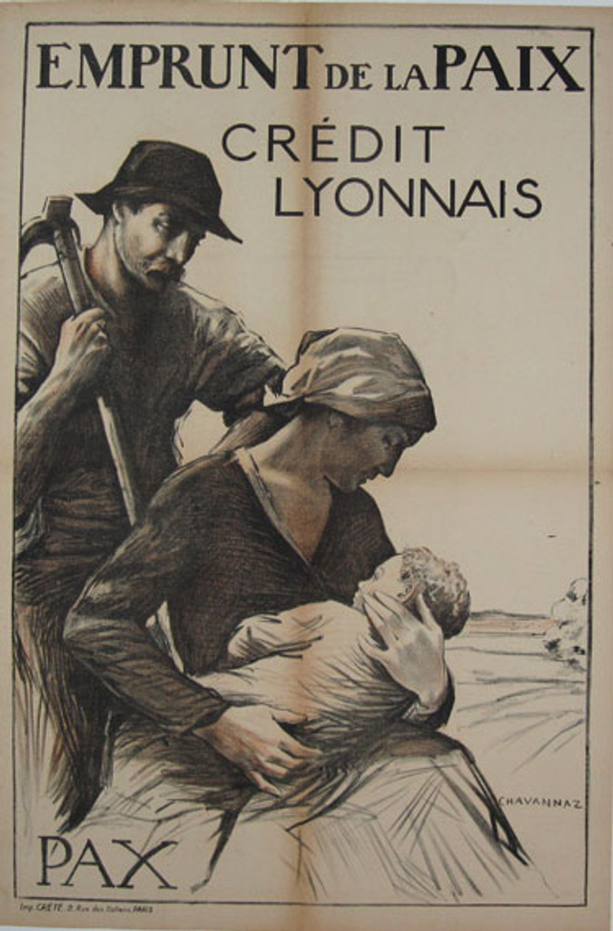 Emprunt De La Paix original vintage poster by Chavannaz from 1918 - French antique poster features a farmer with wife holding a child.