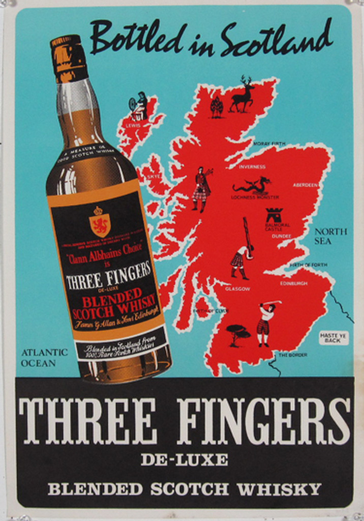 Three Fingers Scotch Whisky original vintage poster from 1954 Ireland